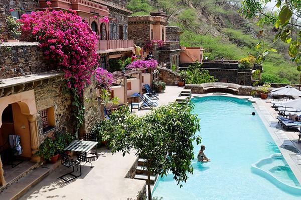Hotel pool area, Neemrana Fort-Palace, road to Jaipur