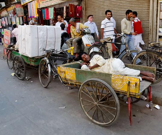Asleep, rickshaw ride, Delhi