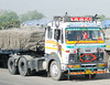 Well-decorated truck, on the road to Jaipur