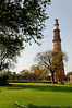 The Qutub Minar is a tower located in Delhi, India. It is the world's tallest brick minaret with a height of 238 ft.  Built between 1193 and 1368.  The Qutub Minar is notable for being one of the earliest and most prominent examples of Indo-Islamic architecture. It is surrounded by several other ancient and medieval structures and ruins, collectively known as Qutub complex.