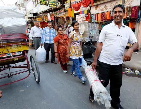 Dad looks happy anyway, rickshaw ride, Delhi