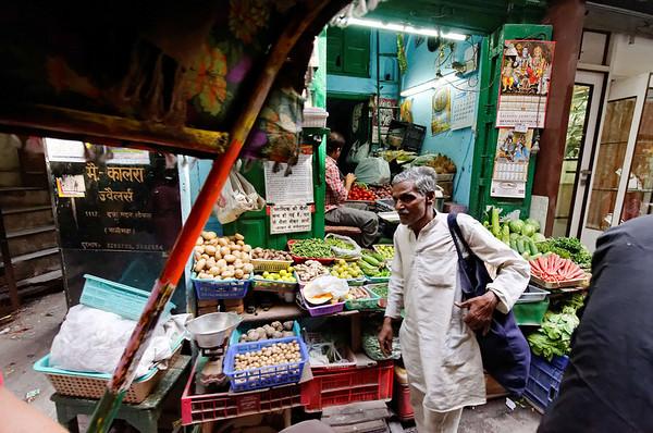 Veggie stand, rickshaw ride, Delhi