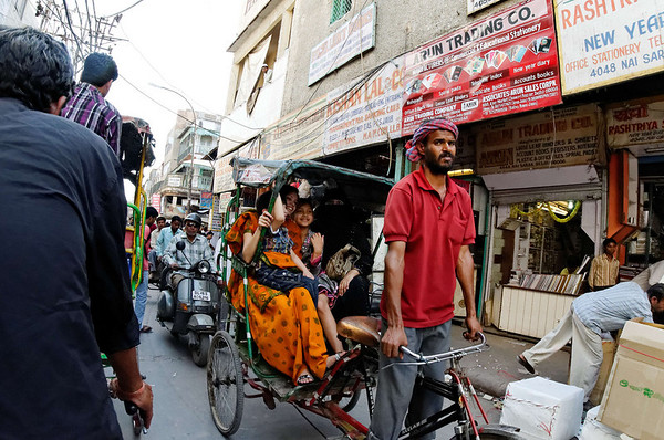 Happy passengers, rickshaw ride, Delhi