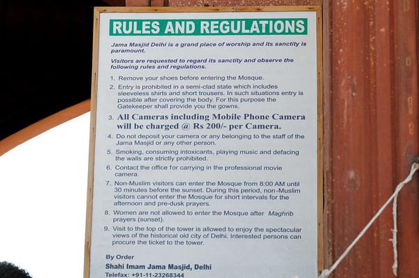 Rules and regulations, Jama Masjid Mosque, Delhi