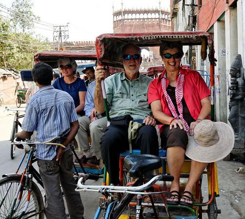 Getting ready for the rickshaw ride, Old Delhi