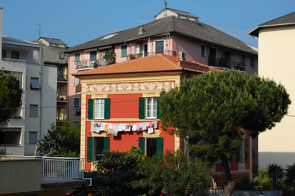 Building showing the traditional painted facade to resemble stone, trompe l'oeil (french for trick the eye) Sestri Levante, Italy