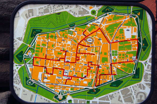 Layout of walled part of Lucca, Italy