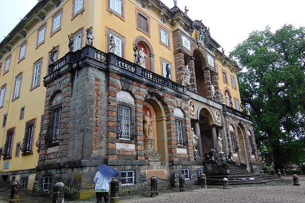Front facade, the baroque replacing the original renaissance (thick walls) Villa Torrigiani Lucca, Italy