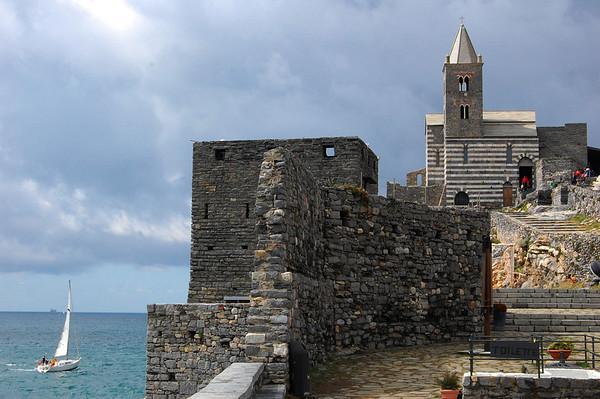 Sailboat & Church of St. Peter Portovenere, Italy