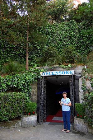Suzanne waiting at the tunnel leading to the elevator Sestri Levante, Italy