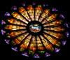 The rose window Basilica dei Fieschi San Salvatore di Cogorno, Italy