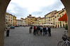 Piazza Anfiteatro, preserving the shape of the ancient coliseum Lucca, Italy