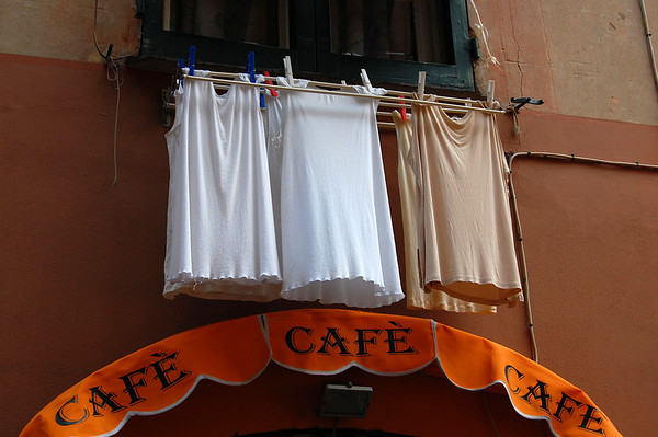 Hanging out the wash Sestri Levante, Italy