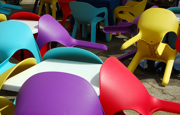 Composition, plastic chairs Portovenere, Italy