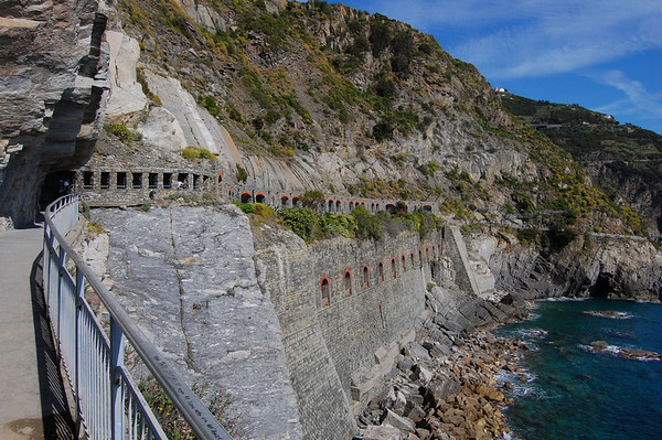 Covered part of the walk Via dell'Amore, Italy