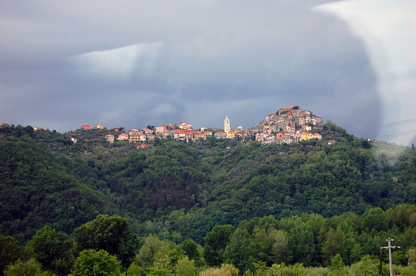 From the bus, a hilltop town