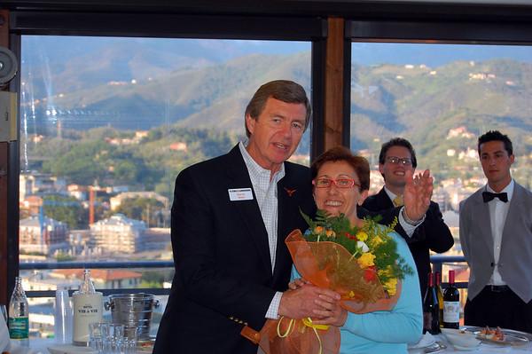 A special award to Antoella Cama by David farewell reception Sestri Levante, Italy
