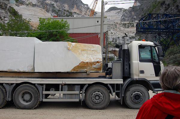 Trains are no longer used to haul marble from the mountain Carrara, Italy