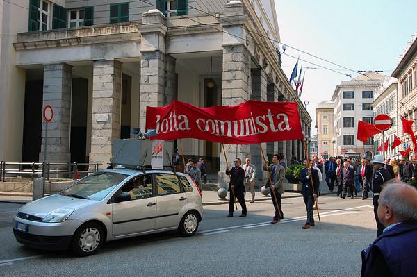 Start of the May Day parade Genova, Italy