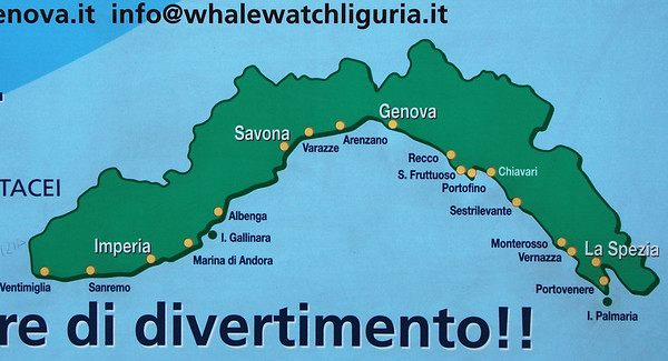 Map of the Ligurian coastline