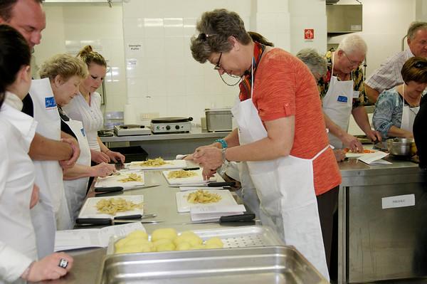 David, Rose, and Suzanne work on gnocchi (potato dumplings).