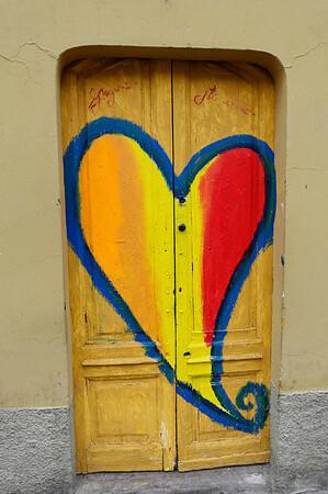 artistic heart on door