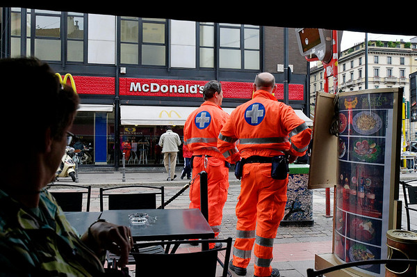 ambulance drivers on a break, McDonalds, Milan