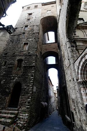 Perugia, Italy, narrow medieval streets.