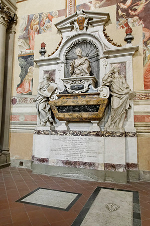 Florence, Italy; Galileo's tomb in the Basilica di Santa Croce (Basilica of the Holy Cross)