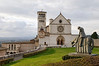 Assisi, Italy, Basilica of St. Francis, with statue representing the conversion moment.