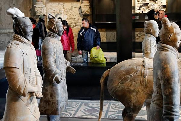 Rome, Italy; Chinese terracotta warrior exhibit