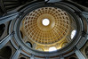 Rome, Italy; Vatican City, ceiling detail above marble bowl