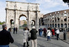 Rome, Italy; Arch of Contstantine and the Coliseum