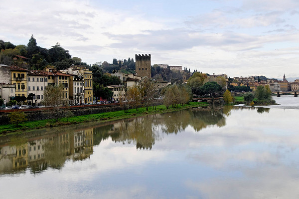 Florence, Italy; clear morning along the Arno River