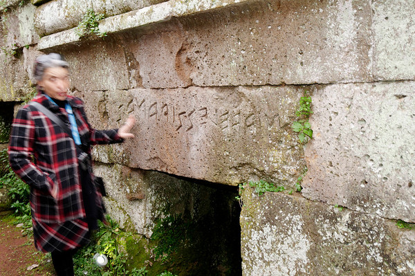 Utruscan sign for who is buried here - reads from right to left, related to Greek