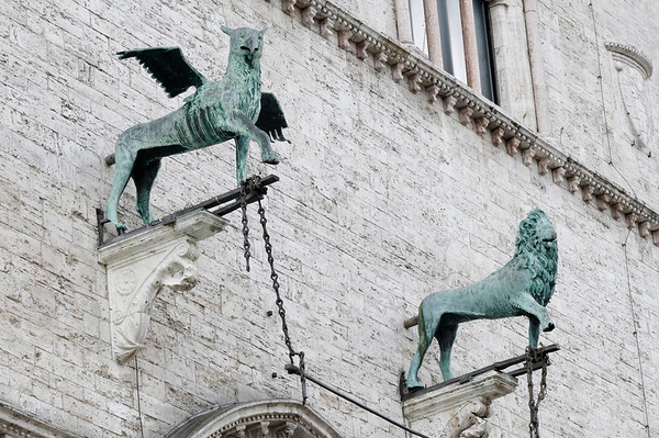 Perugia, Italy - griffin and lion are the symbols of the town