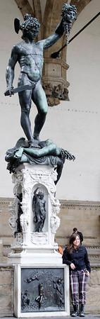 Florence, Italy; Piazza della Signoria, original statues, except for David (Perseus with the Head of Medusa)
