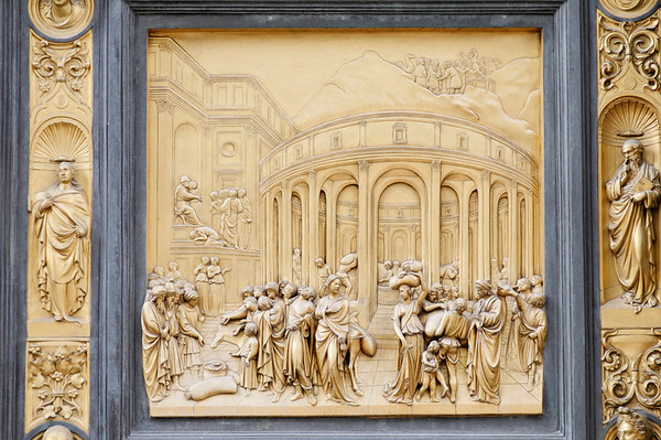 Florence, Italy; detail of the Baptistry door panel by Lorenzo Ghiberti.