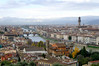 Florence, Italy: the sweep of the town, including the Palazzo Vecchio and the Ponte Vecchio (spared during WWII).
