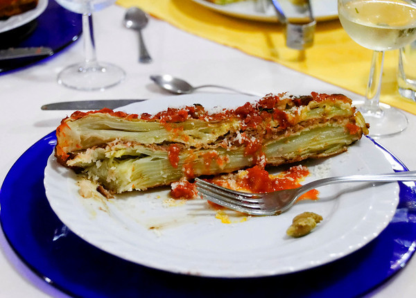 specialty of the area is black celery - this is lasgna made with it, very light and delicious_DSC8610