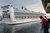Cruise ship leaving port, Naples Italy