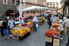 The daily market, fruits and veggies up and fish below, Catania Sicily
