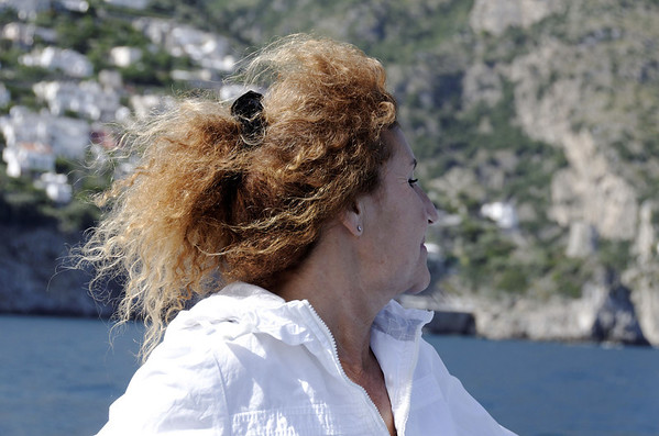 Simona enjoying the breeze, near Positano Italy