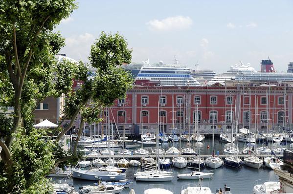Sailboats and cruise ships, Naples Italy