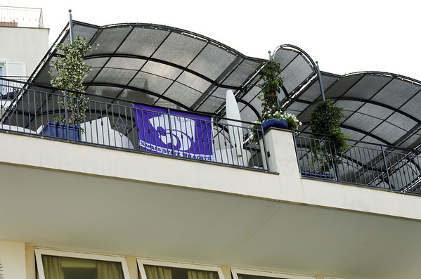 Showing the flag - this is where we had our arrival party, Hotel Raito, Vietri sul Mare, Italy