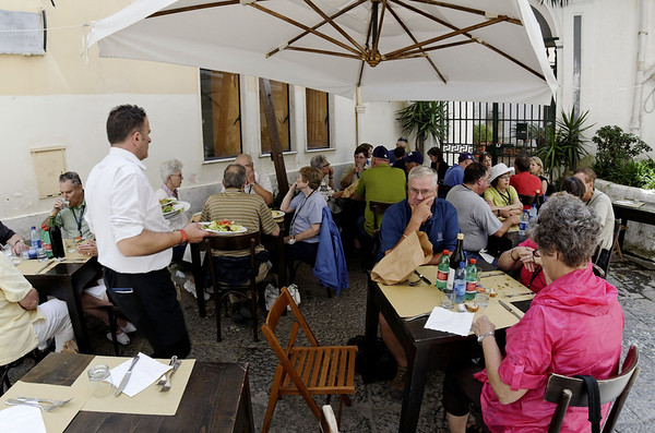 Group dines at Maccus Ristorante, Amalfi Italy