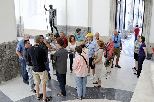 Getting the briefing from Enzo,  National Archeological Museum of Naples