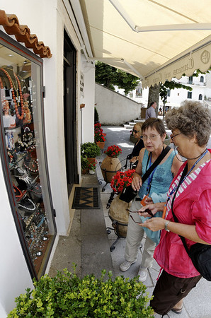 Ann and Suzanne doing a little window shopping, Ravello Italy