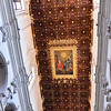 Lecce, interior of Basilica of Santa Croce, with wood ceiling embossed with gold