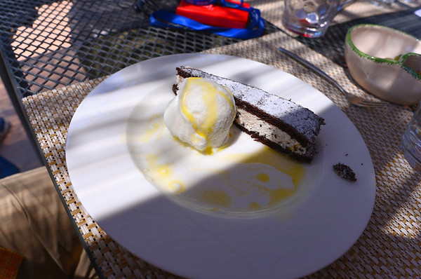 Trani, Galantino Olive Mill, dessert with gelato, lemon infused olive oil, cake with ricotta filling